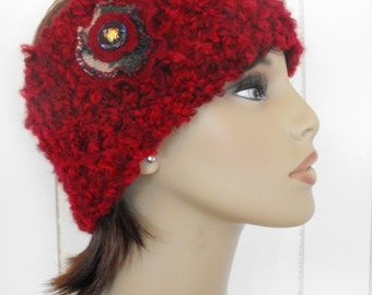 Knitted Womens Student Headband Red On Sale