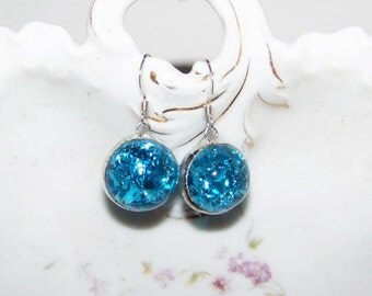Fried Marble Earrings on sterling silver wires, crackled glass, handmade jewelry