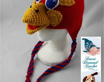 Kansas University Jayhawk Earflap Beanie - Any Colors - Any Size