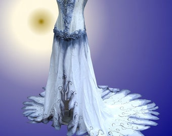 Corpse Bride  Wedding Gown Gothic Hand Painted