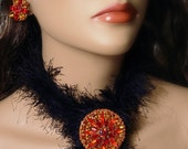 Warm Sunburst Red, Orange and Topaz Demi Parure Brooch/Pendant and Earclips