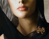 Butterfly inspired brooch - warm and earthy - vintage rhinestones - ooak