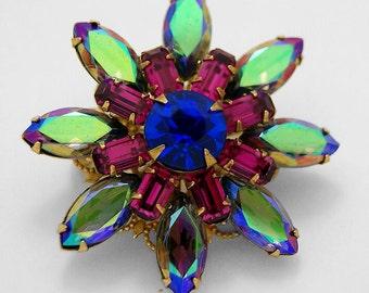 Starburst/Blossom AB Sapphire & Fuschia Brooch/Pendant - vintage rhinestones - OOAK