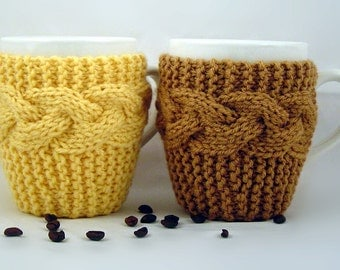 Set of 2 Hand Knit Coffee Mug Coaster Cozy Your Choice Of Colors Save 3.00 with this pack of 2