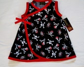 Girl Pirate Dress - Sailor Baby Girl - Skull Crosbones - Baby Dress - Rockabilly Baby Girl - Red Girl Dress -  Sizes Newborn to 18m