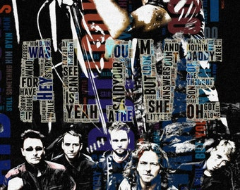 Print Pearl Jam Poster  Birthday Gift art cotton canvas Wall Decor dark blue typography Musical style print giclee