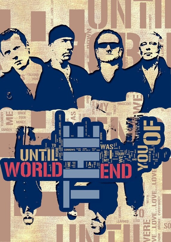 Print Music poster U2  Birthday Gift art  Until the End of the World  canvas wall decor handmade gift giclee