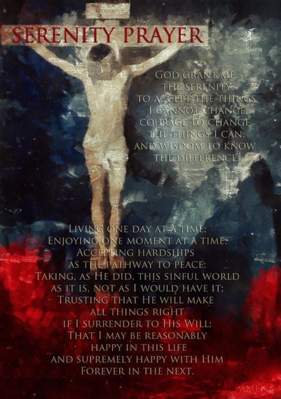 Print Reinhold Niebuhr  Birthday Gift art Serenity prayer Christian jesus christ poster prayer Decor Mixed Media canvas  giclee