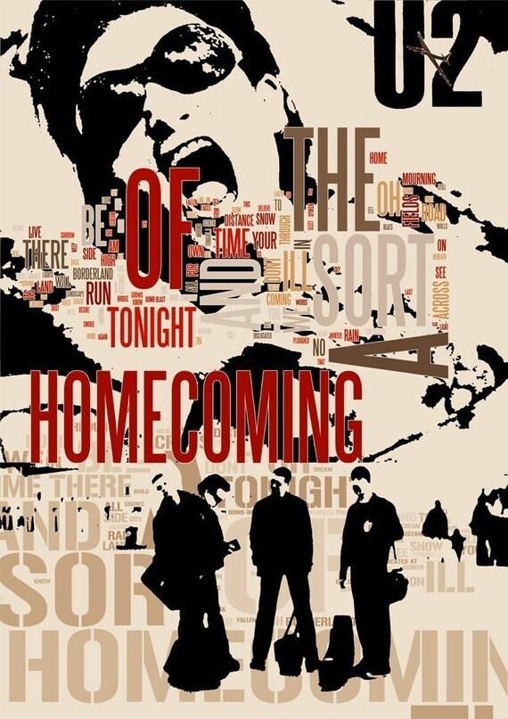 Print U2 Poster Music Birthday Gift Art A Sort Of Homecoming