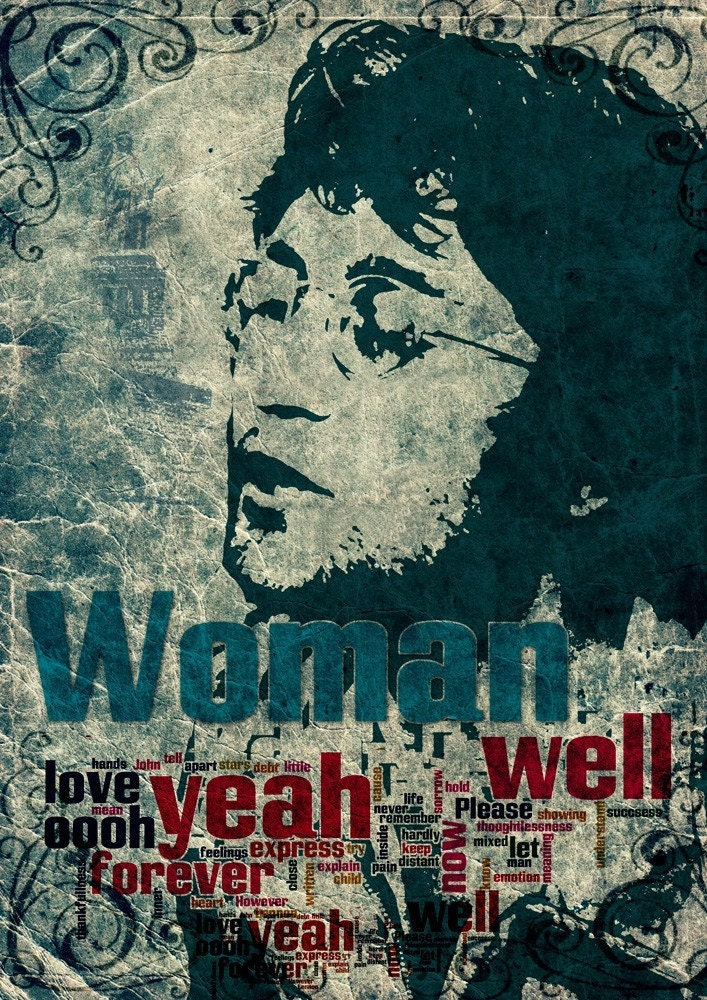 Print John Lennon Birthday Gift Art Woman Music Fine Poster
