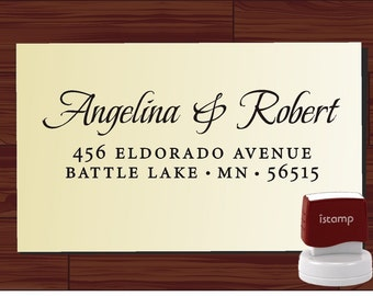 Calligraphy Address Custom Rubber Stamp - Personalized Return Address Wedding Stamper - Style 1172N