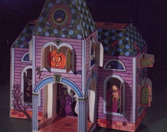 vintage haunted house to cut out and assemble halloween card stock paper house and spooks dover