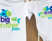big brother little brother (or sister) matching set - the funky fish sea life ocean tees