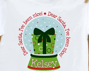 personalized christmas shirt - snowglobe kids christmas t-shirt perfect for holiday festivities