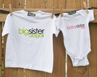 Big sister shirt, baby sister shirt-  big sister, little sister sibling set perfect for any big/little combination