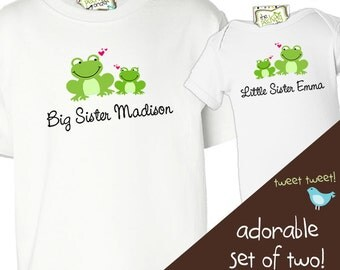 big sister, little sister shirts  - adorable frog combination can be made for any sibling set