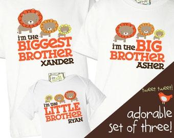 matching brother shirts - sibling set of THREE shirts - customize LION sibling shirts for any brother/sister combination