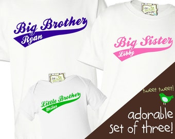 matching sibling  shirts - sibling set of THREE shirts big brother big sister mix and match  - SWOOSH team sibling shirts