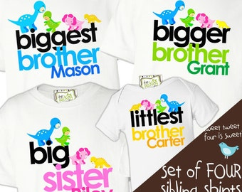 matching sibling shirts set of  four big brother and big sister matching tshirts - DINOSAUR