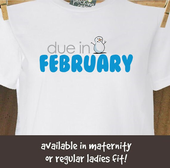 Due in February snowman long or short sleeve maternity of non maternity pregnancy announcement Tshirt