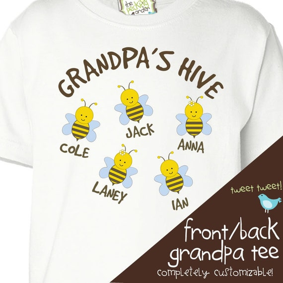 Grandpa shirt - grandpa beekeeper hive t-shirt personalized with multiple grandkid names - great gift for Father's Day or birthday