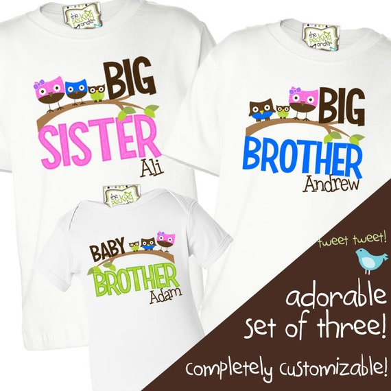 matching sister brother sibling shirts set of three matching owl shirts for ANY combination