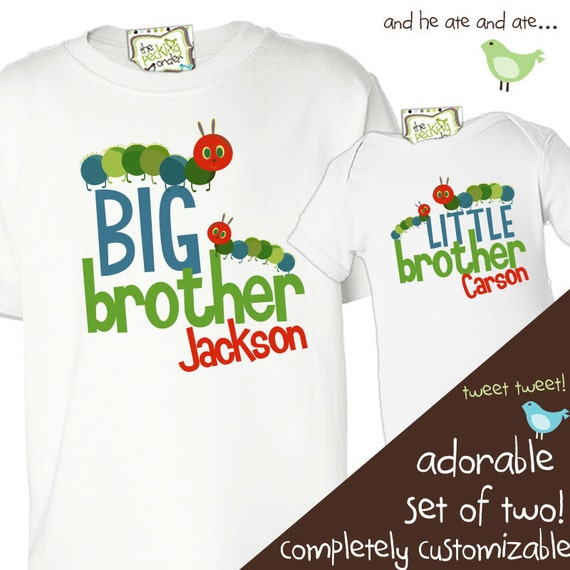 Big brother little brother shirts matching set caterpillar personalized sibling t-shirts TWO shirts