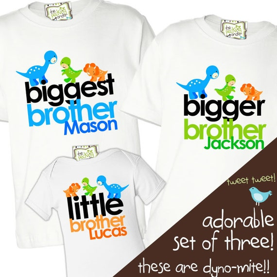 Matching sister brother matching DINOSAUR sibling shirt set for three for ANY combination