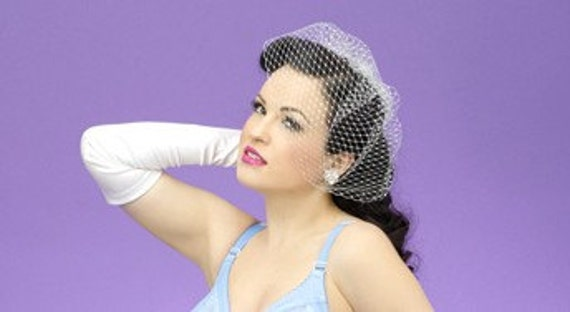 1940s Hats History ORIGINAL Silver Glitter Birdcage veil - Bridal/Pinup/Retro/Boudoir- So many beautiful looks in ONE veil- Also available in GOLD $17.00 AT vintagedancer.com
