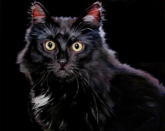 "Halloween Black Cat, custom Pet Portrait Oil Painting by puci, 8x10"""