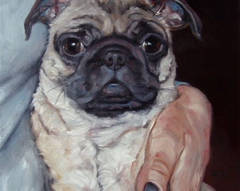 "Pug Hugs, custom Pet Portrait Oil Painting by puci, 12x12"""