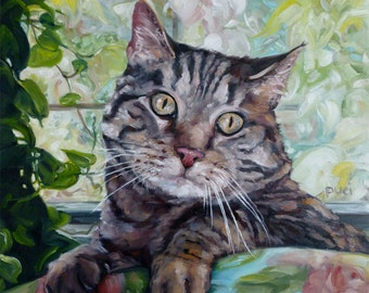 """SunRoom Kitty, custom Pet Portrait Oil Painting by puci, 10x12"""""""