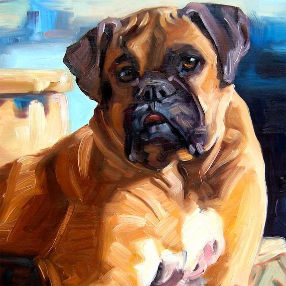 "BOXERS & BULLDOGS, custom Pet Portrait Oil Paintings by puci, 10x10"""