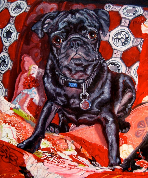 """Frenchie and the Kozy Kimonos, CUSTOM Pet Portrait Oil Painting by puci, 10x12"""""""