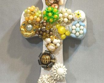 art cross, Silver Colored Cross with multi colored jewelry
