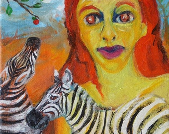 zebra painting, The Zebras Brushed Past Eve original acrylic painting on canvas, Eden