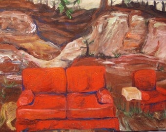 coyote painting, Coyote Living Room, large painting, original acrylic painting on canvas, Southwest