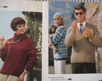 Vintage Knitting Patterns, 22 Knitting Patterns from the 1960s for Men and Women by Spinnerin, Patterns for Sweaters, Dresses, and Jackets