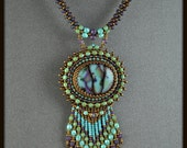 Bead Embroidered, Beaded, Beadwork Summer Skies Necklace