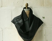 Wool Scarf , black gray long text scarves, fall winter accessories  , wraps shawls, men's scarf , women's