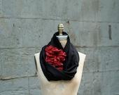 Noir Rouge Wool Flower Scarf black wool wrap shawl