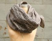Studio SALE Gray Scarves/Text Scarf/ Women's Scarves/ Men's Scarves/ Men's Accessories/ Edgy Scarves/ Linen Scarves