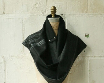 No. 104 Wool Scarf , black gray long text scarves, fall winter accessories  , wraps shawls, men's scarf , women's