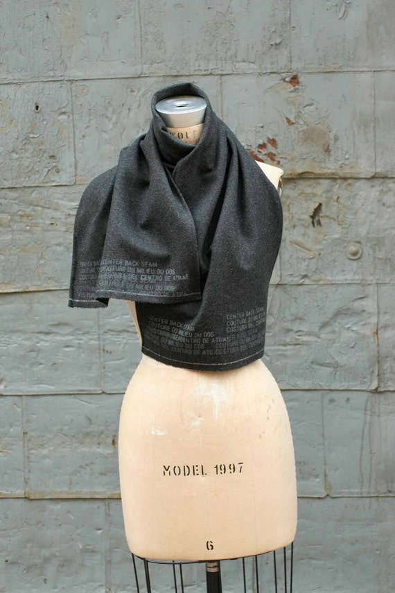 Scarf Men's Gray Wool Printed Text Scarves , blanket scarf, Women's Fall Winter Fashion Accessories, Wraps and Shawls, Unique Holiday Gifts