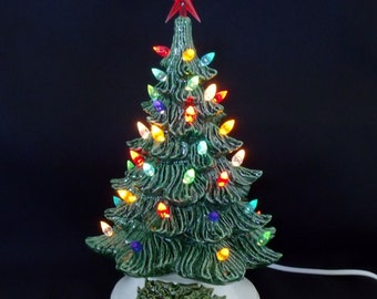 Old Fashioned Ceramic Christmas Tree 11 In w/Music Box