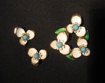 1960's Flower Enamel and Rhinestone Pin and Earrings Vintage