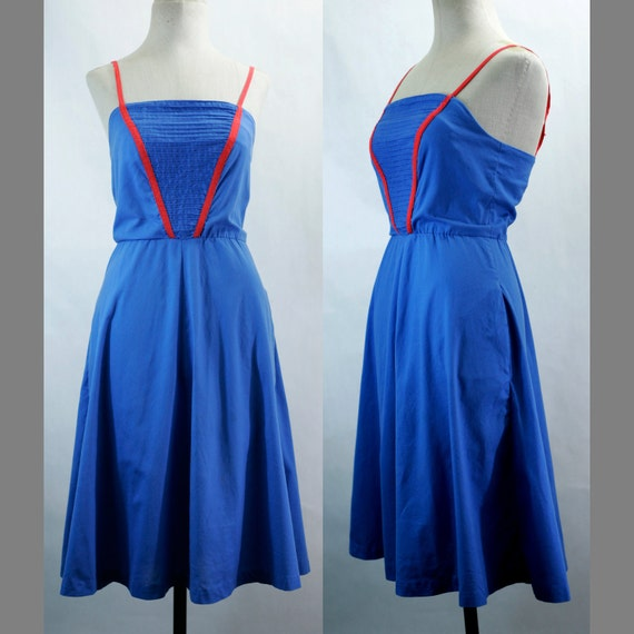 60s/70s Blue And Red Cotton Dress With Built In Bra