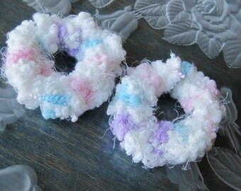 2 Hair Scrunchies, White, Pink, Aqua and Lavender Crochet Scrunchies, Ponytail Holders, Girls Hair Accessory