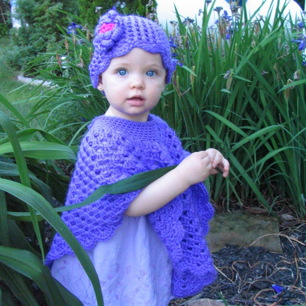 Babys Poncho and Hat Set Purple Baby Poncho by Crocheted4Kids