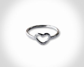 Forged open heart ring in Sterling Silver Sizes 4-8